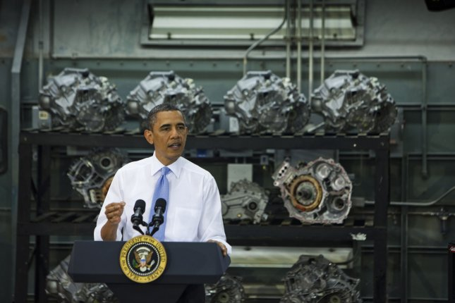 U.S. President Barack Obama delivers remarks to highlight the importance of training and preparing our workforce to compete for manufacturing jobs across our country, at the Northern Virginia Community College Alexandria Campus in Alexandria, Va., June 8, 2011. UPI/Jim Lo Scalzo/POOL