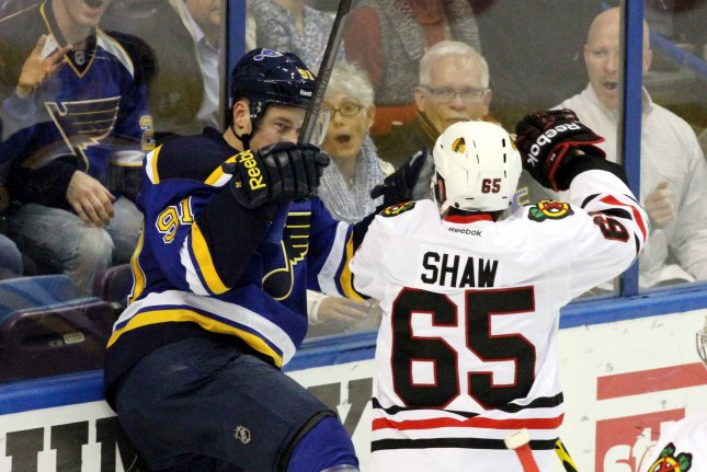 The NHL handed Chicago Blackhawks' Andrew Shaw a one game suspension and fine for his use of a gay slur when he was in the penalty box during Tuesday's game against the St. Louis Blues. File photo Robert Cornforth/UPI