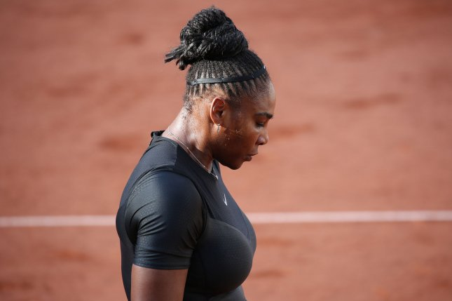 American Serena Williams pauses during her French Open women's third-round match against Julia Goerges of Germany Saturday at Roland Garros in Paris. Photo by David Silpa/UPI