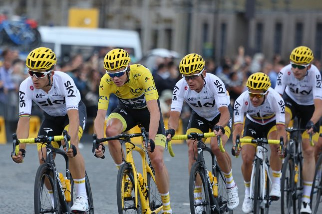 Chris Froome (yellow jersey) of Great Britain. File photo by David Silpa/UPI