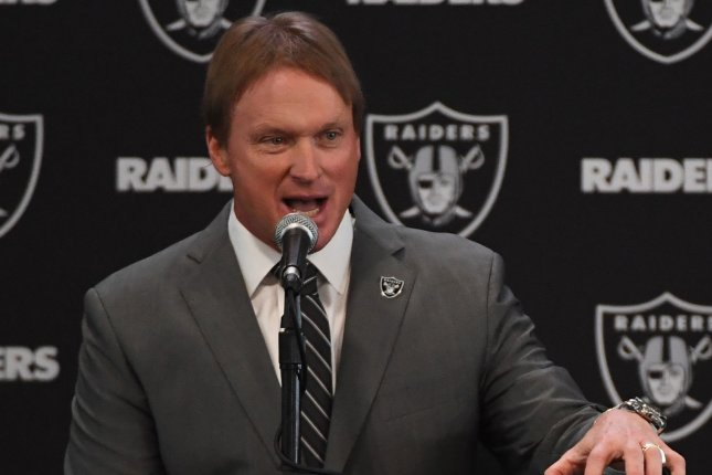 Oakland Raiders new head coach John Gruden answers questions at the Raiders Headquarters on January 9 in Alameda, Calif. Photo by Terry Schmitt/UPI