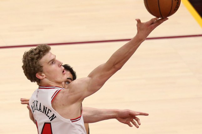 Lauri Markkanen and the Chicago Bulls visit the Indiana Pacers on Tuesday. Photo by Aaron Josefczyk/UPI
