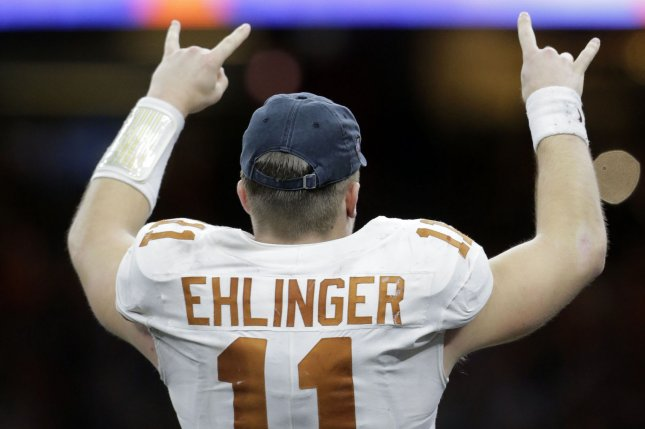 Texas Longhorns quarterback Sam Ehlinger (11) celebrates after the Longhorn beat the Georgia Bulldogs in the 85th annual Allstate Sugar Bowl on Tuesday at the Mercedes-Benz Superdome in New Orleans. Photo by AJ Sisco/UPI