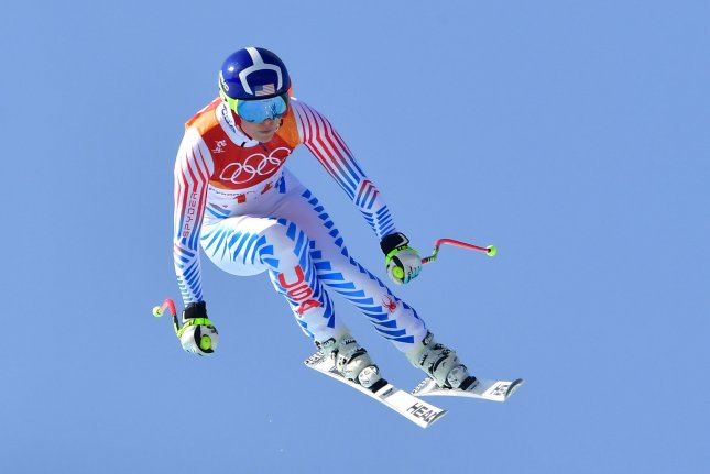 American Lindsey Vonn finished her career with a bronze medal in the world championship downhill Sunday. File Photo by Kevin Dietsch/UPI