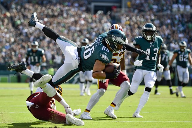 Philadelphia Eagles tight end Zach Ertz (86) had five catches for 54 yards in Week 1 against the Washington Redskins. Photo by Derik Hamilton/UPI