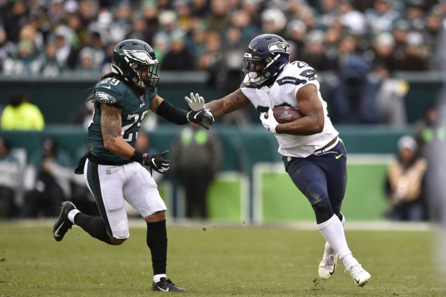 Seattle Seahawks running back Rashaad Penny (20) had a breakout performance in Week 12 with 129 yards and a touchdown against the Philadelphia Eagles. Photo by Derik Hamilton/UPI