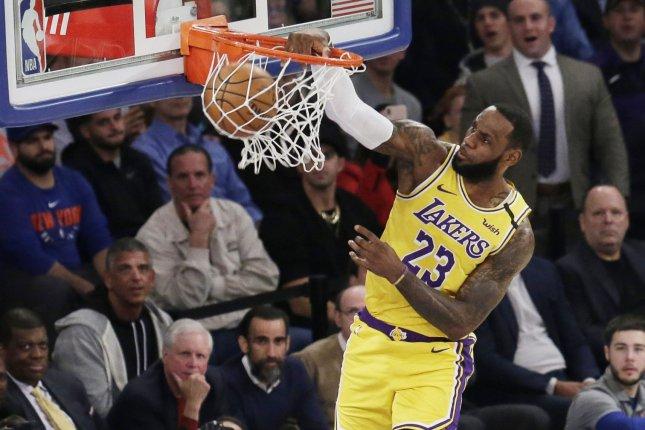 Los Angeles Lakers star LeBron James is 45 points away from passing Kobe Bryant for third on the NBA's all-time scoring list. Photo by John Angelillo/UPI
