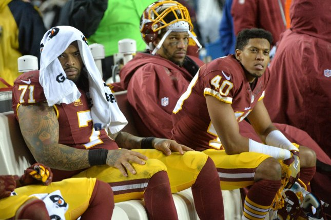 Washington Redskins offensive tackle Trent Williams (71) held out for the entire 2019-20 season because of issues with the team's medical staff. File Photo by Kevin Dietsch/UPI