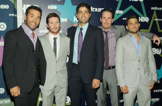 Cast members (left to right) Jeremy Piven, Kevin Connolly, Adrian Grenier, Kevin Dillon and Jerry Ferrara arrive for the Entourage premiere at The Beacon theater on July 19, 2011 in New York City. UPI /Monika Graff.