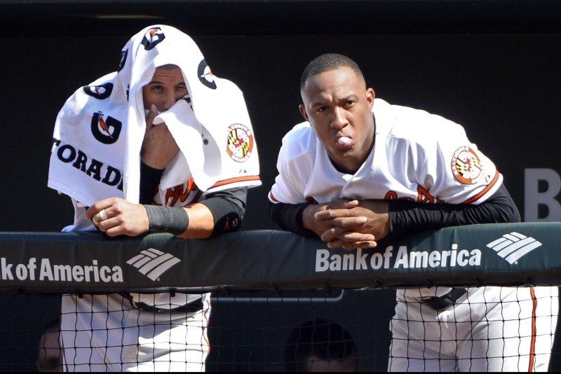 Baltimore Orioles' Manny Machado (L) and Jonathan Schoop. Photo by David Tulis/UPI