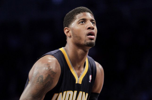 Indiana Pacers' Paul George shoots a free throw. UPI/John Angelillo