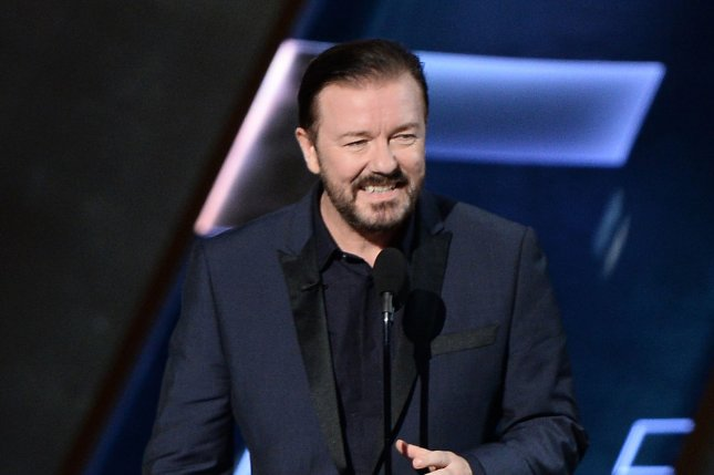 Life on the Road actor Ricky Gervais appears onstage during the 67th Primetime Emmy Awards in Los Angeles on September 20, 2015. File Photo by Ken Matsui/UPI.