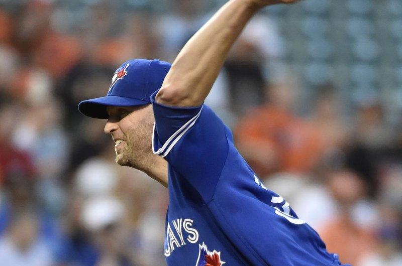 Toronto Blue Jays starting pitcher J.A. Happ. Photo by David Tulis/UPI