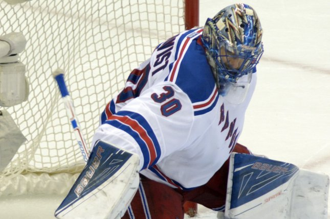 New York Rangers goalie Henrik Lundqvist (30) makes a save. File photo by Archie Carpenter/UPI