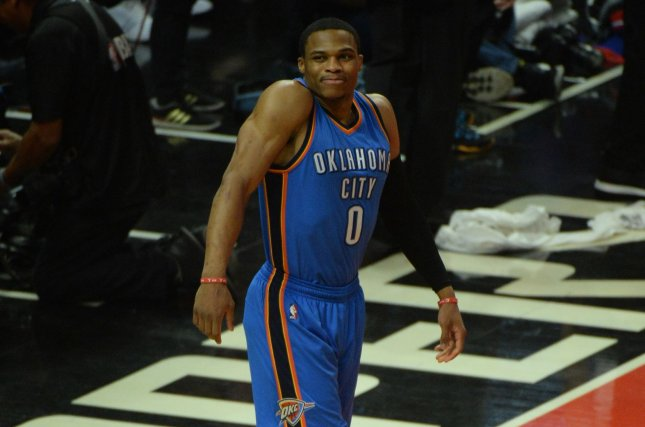 Oklahoma City Thunder Russell Westbrook loosens up before tip off. File photo by Jon SooHoo/UPI