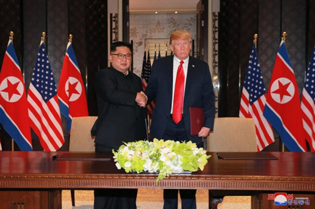 North Korea stated Tuesday pressure against Pyongyang must recede, following the June 12 summit in Singapore between Kim Jong Un and U.S. President Donald Trump. Photo by KCNA/UPI