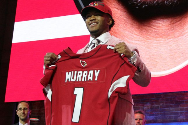 Oklahoma's Kyler Murray was the No. 1 overall pick by the Arizona Cardinals in the 2019 NFL Draft on April 25 in Nashville. Cardinals coach Kliff Kingsbury hasn't decided if Murray will be the team's Week 1 starter. Photo by John Sommers II/UPI