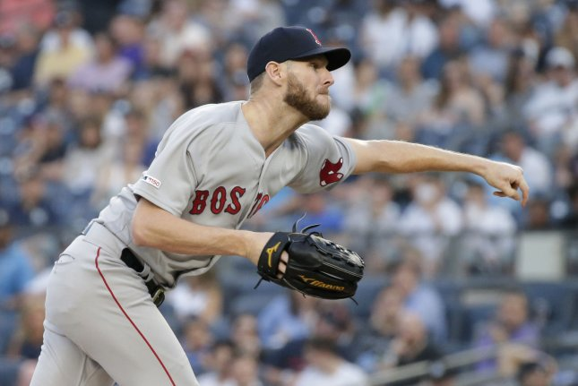 Boston Red Sox starting pitcher Chris Sale has a 6-11 record and 4.40 ERA this season. File Photo by John Angelillo/UPI