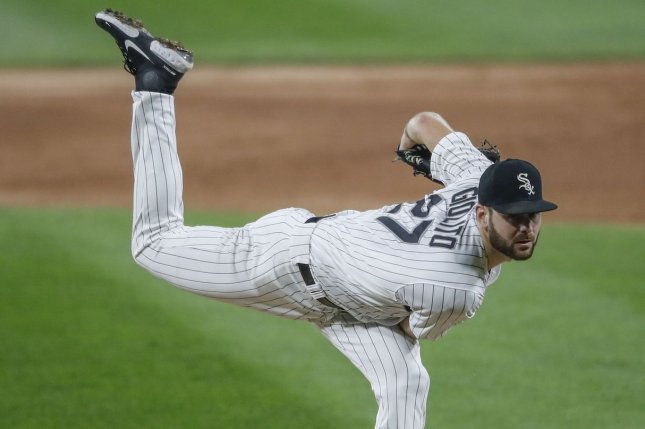 Chicago White Sox starting pitcher Lucas Giolito allowed two hits and one run in seven innings to lead his team to a playoff win over the Oakland Athletics Tuesday in Oakland, Calif. File Photo by Kamil Krzaczynski/UPI
