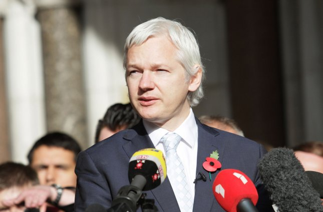 Wikileaks founder Julian Assange speaks to the media after losing his final appeal against extradition to Sweden on rape charges at the Royal Courts of Justice in London on November 02 2011. UPI/Hugo Philpott