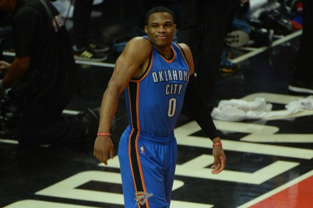 Russell Westbrook produced the 52nd triple-double of his career, leading the Oklahoma City Thunder to a 106-94 victory over the Miami Heat on Tuesday night at AmericanAirlines Arena. File Photo by Jon SooHoo/UPI