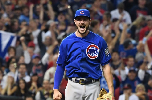 Chicago Cubs third baseman Kris Bryant makes the final out over the Cleveland Indians during the tenth inning of World Series game 7 at Progressive Field in Cleveland, Ohio, on November 2, 2016. Chicago won 8-7 to celebrate a World Series win for the first time in 108 years. Photo by Pat Benic/UPI