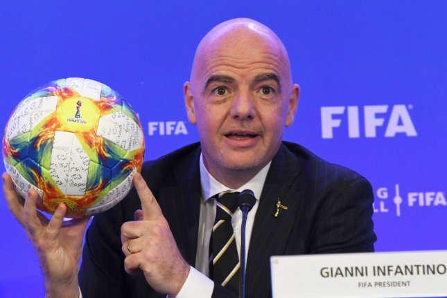FIFA President Gianni Infantino speaks to reporters at the FIFA Council meeting in Miami on March 15. File Photo by Gary I Rothstein/UPI