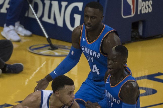 Oklahoma City Thunder forward Patrick Patterson (54) has averaged 6.9 points and 4.1 rebounds per game across his NBA career. File Photo by Terry Schmitt/UPI