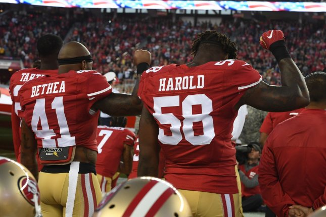 Former San Francisco 49ers defender Eli Harold (58) signed a one-year deal with the Buffalo Bills this off-season. He spent his first three seasons in the NFL with the 49ers. File Photo by Terry Schmitt/UPI