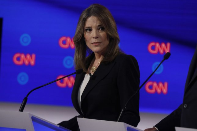 Author Marianne Williamson participates on the first day of the presidential debate in  Detroiot on July 30. File Photo by John Nowak/CNN