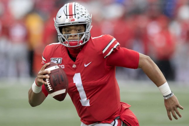 Ohio State quarterback and Heisman Trophy candidate Justin Fields has led the Buckeyes to an 8-0 record so far this season. Photo by Aaron Josefczyk/UPI