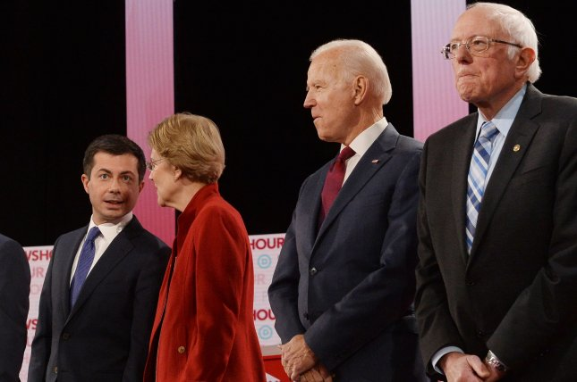 Democratic presidential candidates are seen on the stage at the sixth Democratic primary debate on December 19, 2019, at Loyola Marymount University in Los Angeles, Calif. Photo by Jim Ruymen/UPI