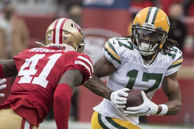 Green Bay Packers wide receiver Davante Adams (17) had the most fantasy points among wide receivers in Week 1 and should have another great performance in Week 2. File Photo by Terry Schmitt/UPI