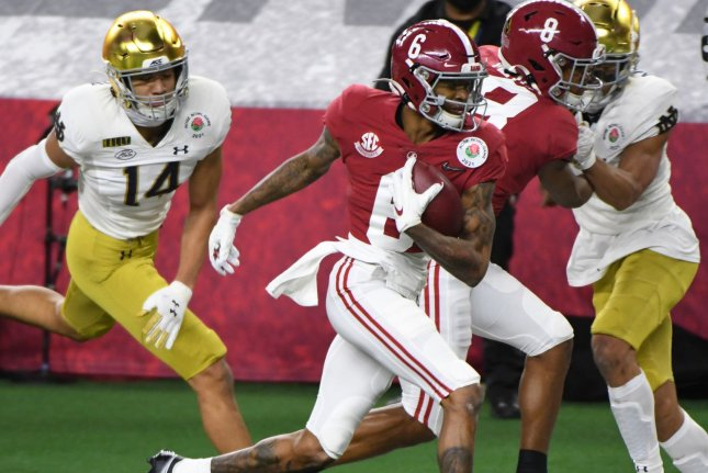 Alabama's DeVonta Smith (C) on Tuesday could become just the third wide receiver in history to win the Heisman Trophy. File Photo by Ian Halperin/UPI