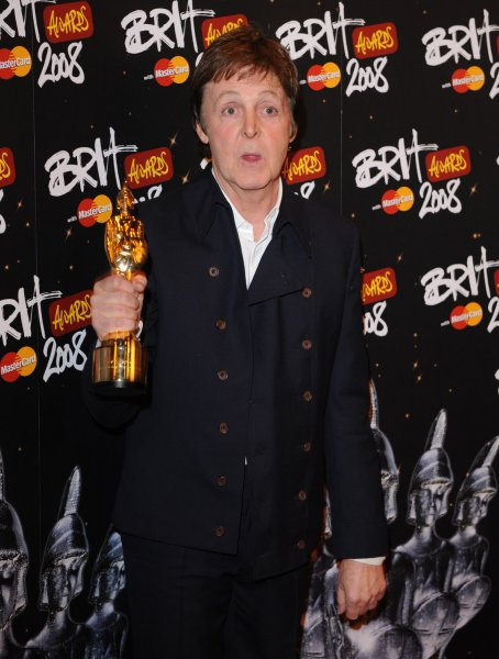 British singer Paul McCartney attends the pressroom at Brit Awards at Earl's Court in London on February 20, 2008. (UPI Photo/Rune Hellestad)