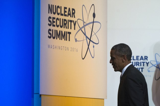 President Barack Obama attends the 2016 Nuclear Security Summit in Washington, D.C., on Friday. The summit brings together world leaders to help bring improvements to the security of nuclear materials worldwide. Photo by Kevin Dietsch/UPI