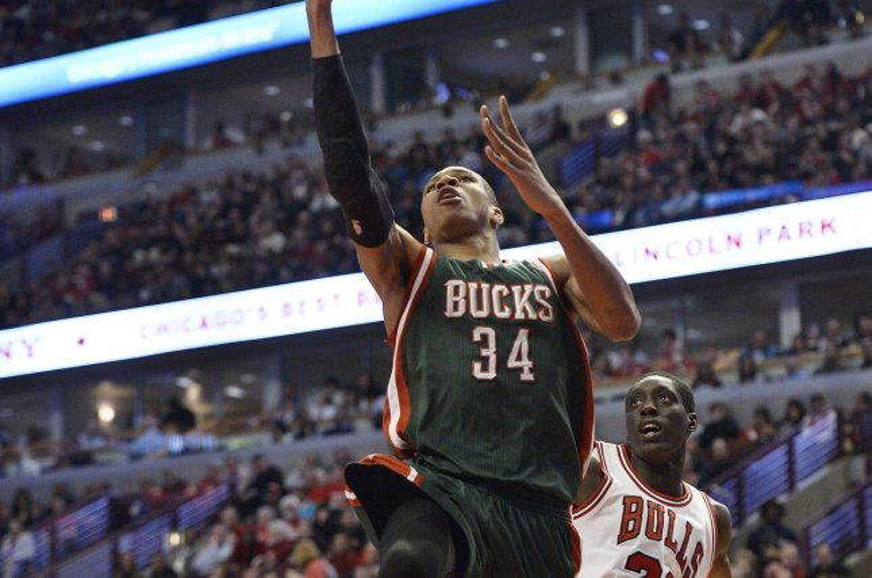 Milwaukee Bucks forward Giannis Antetokounmpo (L). Photo by Brian Kersey/UPI