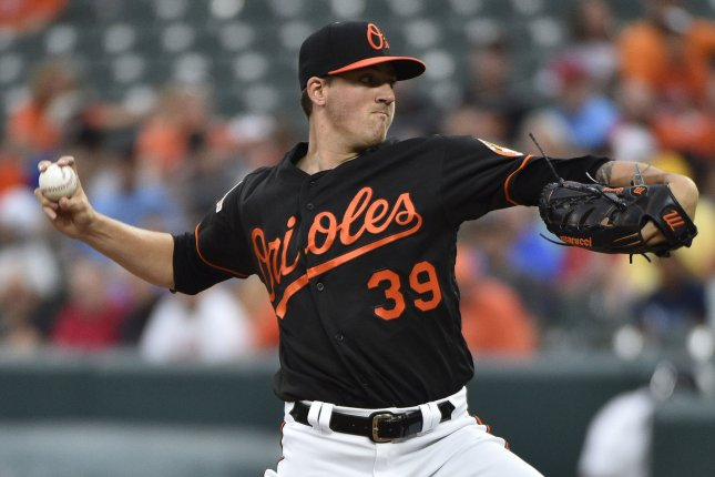 Baltimore Orioles starting pitcher Kevin Gausman delivers a pitch. File photo by David Tulis/UPI
