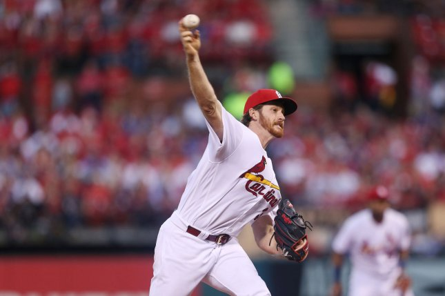 St. Louis Cardinals starting pitcher Miles Mikolas delivers a pitch to the Chicago Cubs in the second inning on May 4, 2018 at Busch Stadium in St. Louis. Photo by Bill Greenblatt/UPI