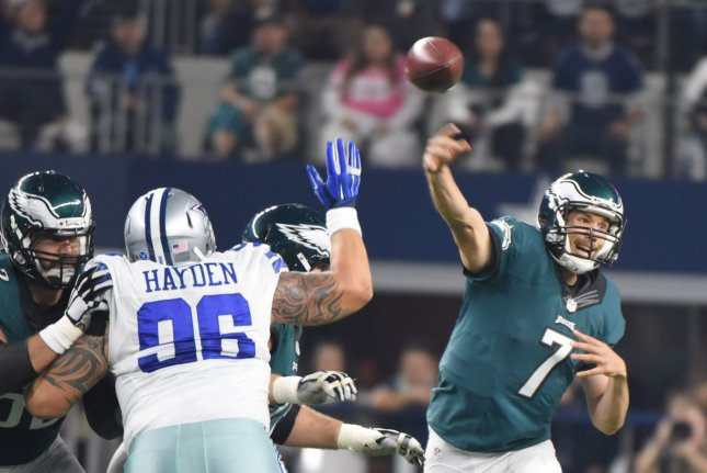 Former Philadelphia Eagles and current Arizona Cardinals quarterback Sam Bradford (7) throws against the Dallas Cowboys during the first half on November 8, 2015 at AT&T Stadium in Arlington, Texas. File photo by Ian Halperin/UPI