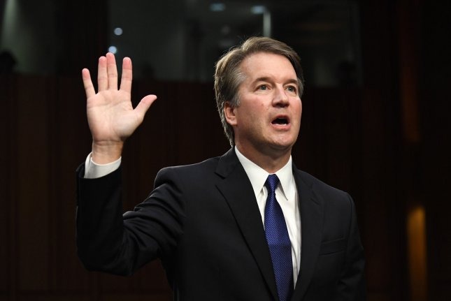 Brett M. Kavanaugh, President Trump's nominee to be the next Supreme Court associate justice, is sworn-in before delivering his opening statement on the first day of his confirmation hearing before the Senate Judiciary Committee, on Capitol Hill in Washington, D.C., on September 4, 2018. File Photo by Pat Benic/UPI