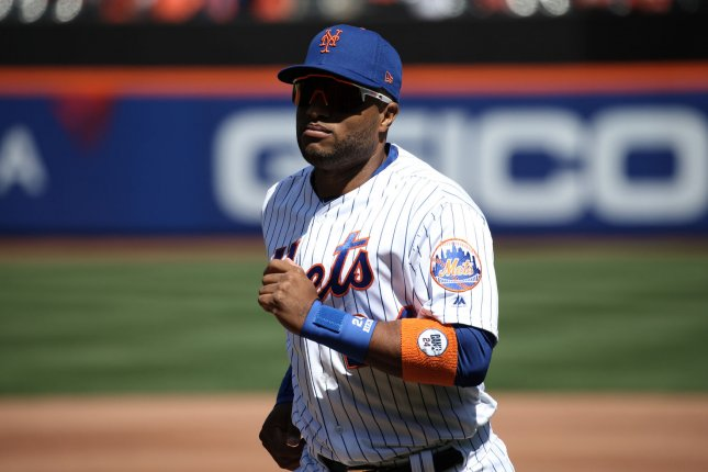 New York Mets second baseman Robinson Cano was hit by a pitch on his hand by Washington Nationals pitcher Gio Gonzalez. Cano was removed from the game, and the team says X-rays have come back negative. File Photo by Peter Foley/UPI