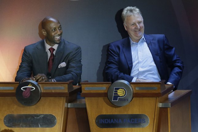 Pro Basketball Hall of Famer Larry Bird (R) will join Oscar Robertson and Bill Russell, the two previous winners of the award, as the Lifetime Achievement Award co-recipient with Magic Johnson this year. File Photo by John Angelillo/UPI