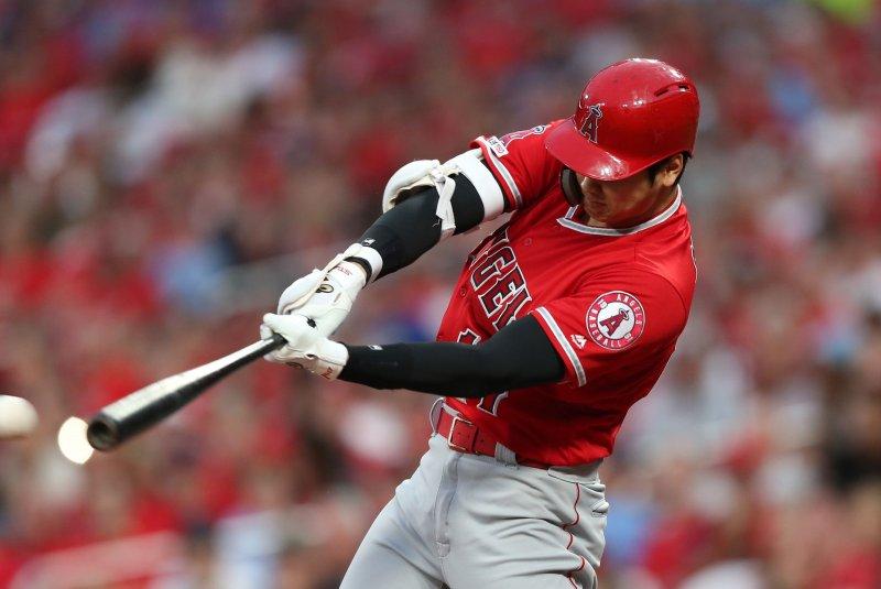 Los Angeles Angels two-way sensation Shohei Ohtani will undergo season-ending surgery to address bipartite patella in his left knee. File Photo by Bill Greenblatt/UPI