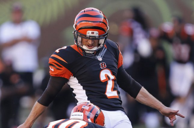 Former Cincinnati Bengals kicker Mike Nugent (pictured) was signed after New England Patriots kicker Stephen Gostkowski was placed on injured reserve with a hip injury. File Photo by John Sommers II/UPI