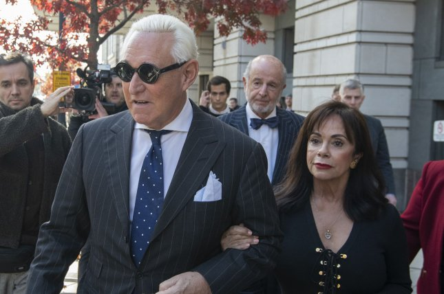 President Donald Trump's former campaign adviser Roger Stone leaves federal court Friday in Washington, D.C., with his wife, Nydia,  after being found guilty of crimes including lying to Congress, witness tampering and obstruction. Photo by Pat Benic/UPI