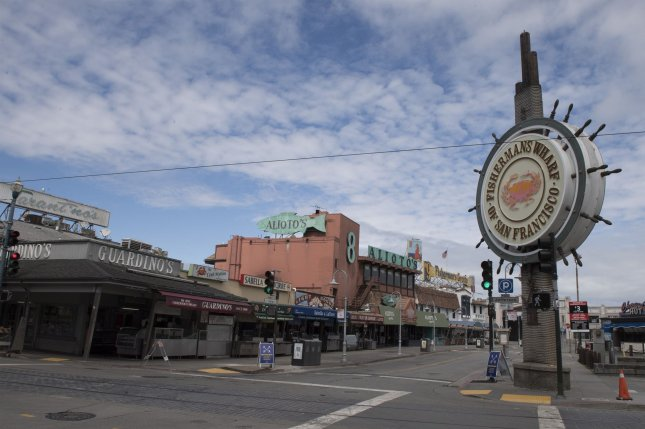 Fisherman's Wharf, a prime tourist area in San Francisco, Calif., is seen Monday closed and vacant due to restrictive orders by state officials to stem the spread of the coronavirus. Photo by Terry Schmitt/UPI