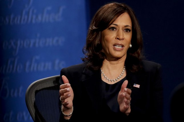 Democratic vice presidential nominee Sen. Kamala Harris of California speaks during the vice presidential debate at The University of Utah in Salt Lake City, Utah, on October 7. Photo by Kim Raff/UPI/Pool