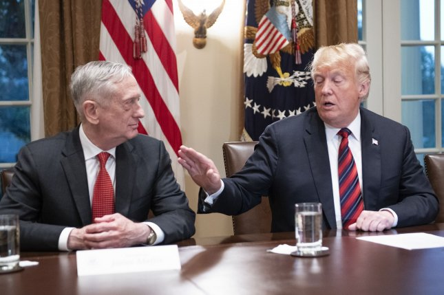Former U.S. Secretary of Defense James Mattis (L) is one of 10 former Pentagon heads who said in a letter Sunday that officials in the Department of Defense swore an oath not to a political party or individual but to the United States. File Photo by Ron Sachs/UPI