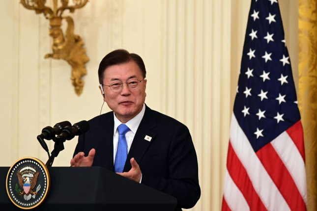 South Korean President Moon Jae-in has maintained a 40% approval rating this month. File Photo by Erin Scott/UPI